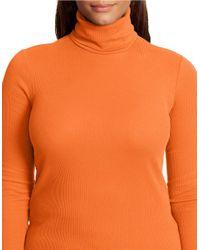 Lauren by Ralph Lauren | Orange Plus Ribbed Cotton Turtleneck Top | Lyst