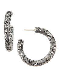 Konstantino - Metallic Filigree Sterling Silver Hoop Earrings - Lyst