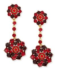 Oscar de la Renta - Red Crimson Crystal Drop Clip-on Earrings - Lyst