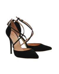 Office Black Trapped Strap Point Court Heels