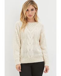 Forever 21 | White Classic Cable Knit Sweater You've Been Added To The Waitlist | Lyst