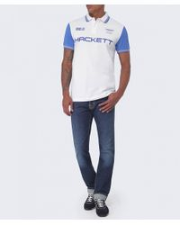 Hackett | White Aston Martin Racing Contrast Tipped Polo Shirt for Men | Lyst