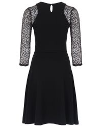 French Connection Black Leah Lace Three Quarter Sleeve Dress