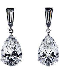 Carat* | Metallic Baguette 2ct Pear Drop Earrings | Lyst