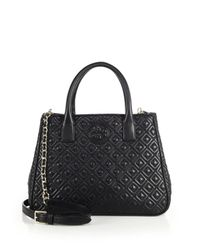 Tory Burch | Black Marion Quilted Leather Tote | Lyst