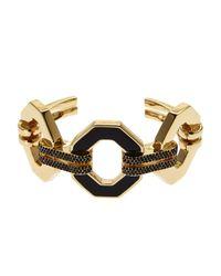 Rebecca Minkoff | Metallic Gold-Tone & Black Cuff Bracelet | Lyst