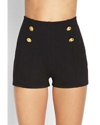 b4ec77cb1b9 Lyst - Forever 21 High-waisted Sailor Shorts in Black