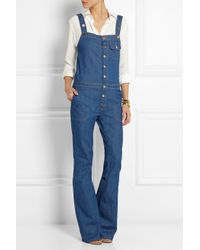 M.i.h Jeans Blue The Dix Stretch-Denim Flared Overalls