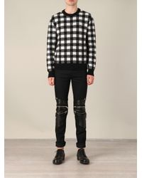 Saint Laurent Black and White Wool Check Sweater for men