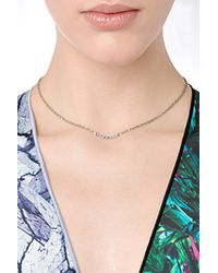 Carolina Bucci - 18K White Gold Mini Bar Necklace With Blue Sapphires - Silver - Lyst