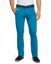BOSS Green | Blue 'leeman-w' | Slim Fit, Stretch Cotton Pants for Men | Lyst