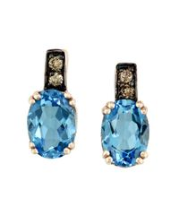 Effy | Metallic Bleu Rose 14 Kt. Rose Gold Blue Topaz And Diamond Earrings | Lyst