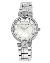 Anne Klein Metallic Crystal Accent Bracelet Watch