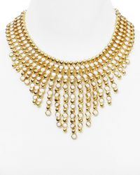 """Ralph Lauren - Metallic Lauren Bib Statement Necklace, 16"""" - Lyst"""