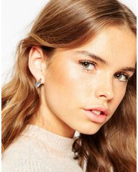 ASOS - White Triangle Enamel Bar Stud Earrings - Lyst