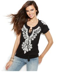 INC International Concepts | Black Plus Size Embroidered Peasant Top | Lyst
