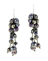 Aeravida | Cluster Drop Black Pearls .925 Silver Earrings | Lyst