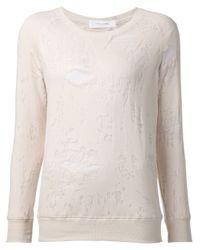 IRO | Pink Distressed Sweatshirt | Lyst