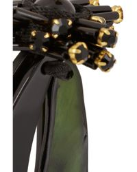 Marni | Green Goldtone Crystal and Horn Clip Earrings | Lyst