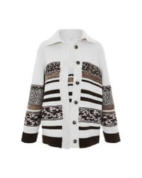 Carven Brown Striped Oversized Knit Cardigan