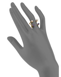 Aesa - Metallic Invisible Cities 4Mm White Freshwater Pearl & Iolite Double Wave Ring - Lyst