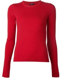 Jil Sander Navy - Red Crew Neck Sweater - Lyst