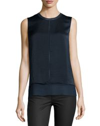Vince | Blue Layered Crepe Blouse | Lyst