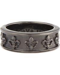 Nialaya | Gray Adorned Logo Ring | Lyst