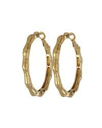kate spade new york | Metallic Bamboo Small Hoop Earrings | Lyst