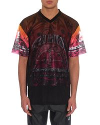 Astrid Andersen Multicolor Layered Printed Mesh T-Shirt for men