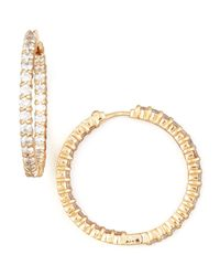 Roberto Coin - Pink 30mm Rose Gold Diamond Hoop Earrings - Lyst