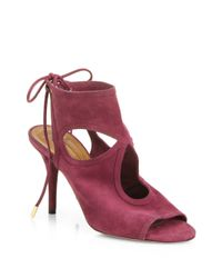 Aquazzura - Red Sexy Thing Suede Cut-Out Sandals - Lyst