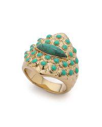 Aurelie Bidermann - Blue Engraved Turquoise Ring - Gold - Lyst