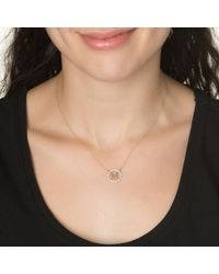 Kacey K | Metallic Small Cutout Diamond Rim Initial Necklace, Rose Gold | Lyst
