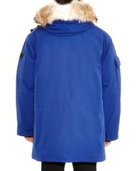 Canada Goose Blue Expedition Fur-Trimmed Down Parka for men