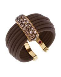 Roberto Coin - Women's Diamond Brown Polyurethane And 18k Yellow Gold Ring - Lyst