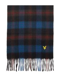 Lyle & Scott Blue Classic Tartan Wool Scarf for men
