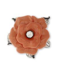 Kenneth Jay Lane | Orange Coral Flower Brooch | Lyst