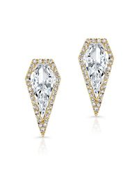 Anne Sisteron | 14kt Yellow Gold White Topaz Diamond Shield Earrings | Lyst