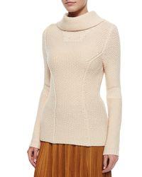 Nina Ricci Natural Waffle-knit Turtleneck Sweater