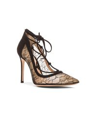 Gianvito Rossi Black Lace & Leather Femi Lace Up Pumps