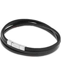 Tateossian - Black Leather Double Wrap Bracelet for Men - Lyst
