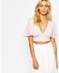 Love | Pink Plunge Front Crop Top With Scarf Detail Back | Lyst