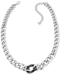 Swarovski | Metallic Silver-Plated Crystal And Jet Hematite Graduated Link Necklace | Lyst