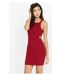 Express Red Ribbed Square Neck Cut-out Sheath Dress