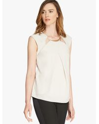 Halston White Crepe Top With Hardware Insert