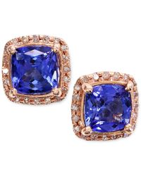 Macy's | Blue Tanzanite (1-9/10 Ct. T.w.) And Diamond (1/6 Ct. T.w.) Stud Earrings In 14k Rose Gold | Lyst