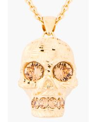 Alexander McQueen | Metallic Gold and Crystal Crosshatched Skull Necklace | Lyst