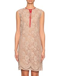 Gucci - Natural Sleeveless Lace Dress - Lyst