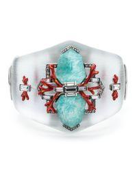 Alexis Bittar Blue Coral Deco Crystal Baguette Hinged Bracelet